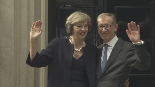 theresa may philip john may at new prime minister at 10 downing street on july 13 2016 in london england - theresa may stock videos & royalty-free footage