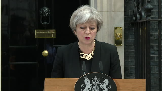 theresa may praising the emergency services and members of the public for their response to the london bridge terror attack - überfahren stock-videos und b-roll-filmmaterial