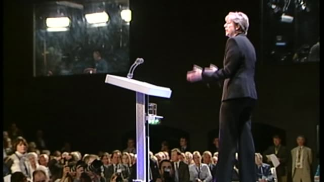 theresa may profile; t07100232 / various of theresa may mp on stage theresa may mp speech sot - you know what some people call us, the nasty party... - julie etchingham stock videos & royalty-free footage