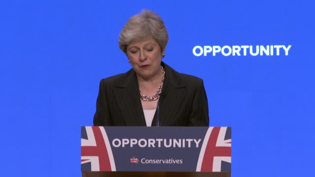theresa may responding to critics of her chequers brexit plan and those calling for a people's vote during her speech at the conservative party... - theresa may stock videos & royalty-free footage