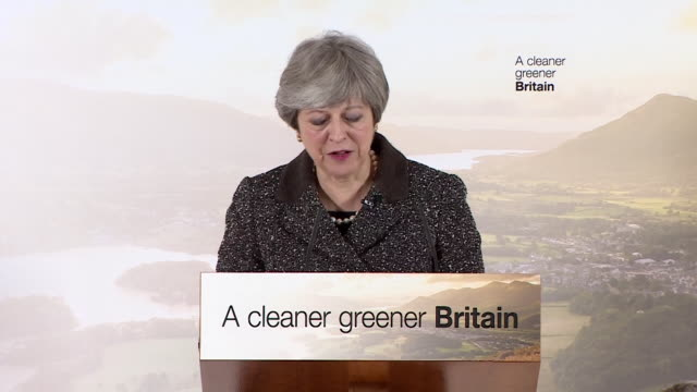 Theresa May saying '8 million tons of plastic makes its way into the oceans each year'