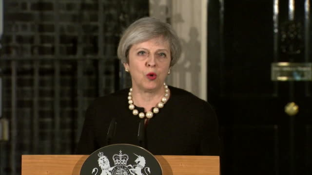 theresa may saying any attempt to defeat our values through violence and terror is doomed to failure in her speech after the wesminster terror attacks - überfahren stock-videos und b-roll-filmmaterial