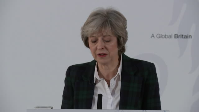 theresa may saying the days of britain making vast contributions to the european union every year will end - brexit stock-videos und b-roll-filmmaterial