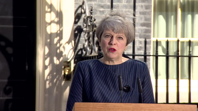 "theresa may saying the public has a choice between ""strong and stable leadership in the national interest, or a weak and unstable coalition... - solid stock videos & royalty-free footage"