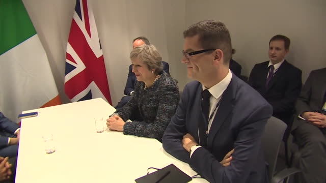 theresa may sitting at a table with ireland taoiseach leo varadkar during the social summit 2017 in sweden - leo varadkar stock videos and b-roll footage