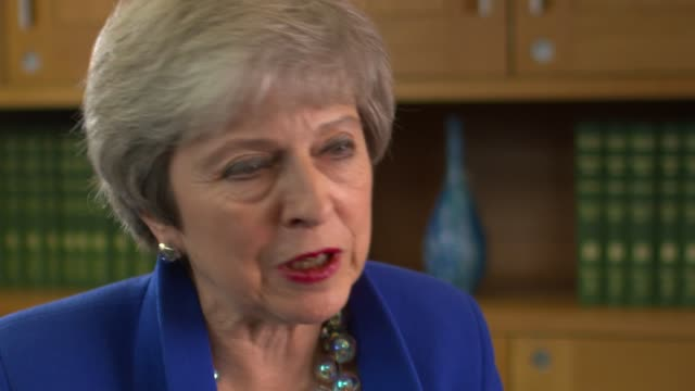 theresa may speaks to rohit kachroo for 'itv tonight' england london int theresa may mp interview sot camera b part 4 of 9 - b rolle stock-videos und b-roll-filmmaterial