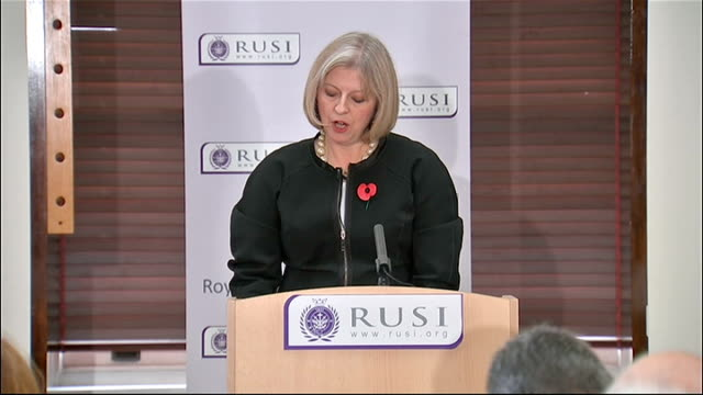theresa may speech at rusi; theresa may speech sot - it is testimony to the success of the police and the agencies that we have not had a successful... - us state border stock videos & royalty-free footage