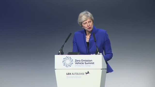 birmingham int theresa may mp at the zero emission vehicle summit speech sot part 2 of 2 / may leaving stage as audience applauding sot - midlands occidentali video stock e b–roll