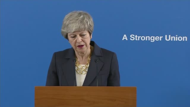 theresa may stresses the importance of the union during speech in scotland; scotland: stirling: int theresa may mp into room and to podium theresa... - stirling stock videos & royalty-free footage