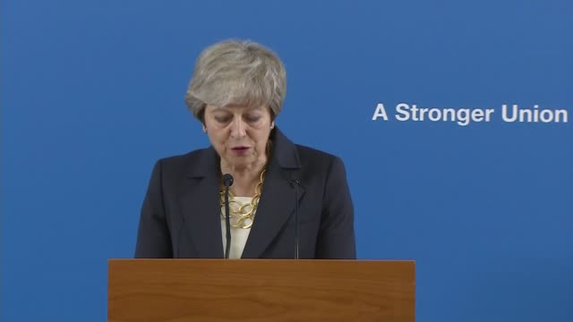 theresa may stresses the importance of the union during speech in scotland; scotland: stirling: int theresa may mp speech - 'a stronger union'... - stirling stock videos & royalty-free footage