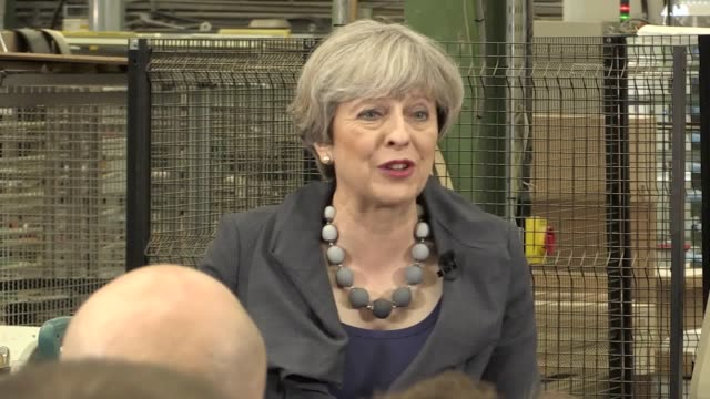 theresa may takes part in a question and answer session with workers at ultima furniture in pontefract. she takes questions on on the tory party's... - may stock videos & royalty-free footage