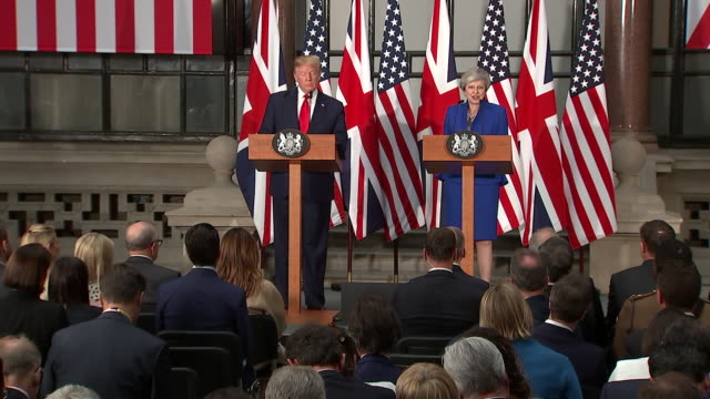 Theresa May talking about the special relationship between the UK and USA during a joint press conference with Donald Trump