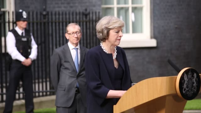 theresa may uks prime minister delivers a speech outside 10 downing street in london uk on wednesday july 13 shots tracking shot of theresa may... - theresa may stock videos & royalty-free footage