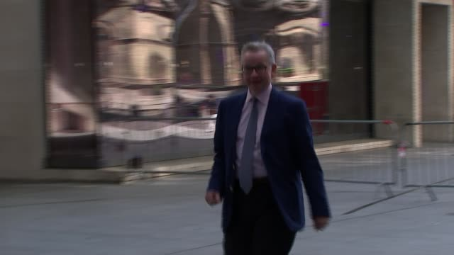 theresa may under mounting pressure to scrap one percent cap on public sector pay michael gove mp arriving at bbc broadcasting house - michael gove stock-videos und b-roll-filmmaterial