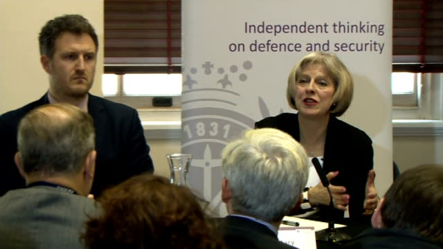 theresa may unveils new anti-terror measures: speech; q - asked about preventing insurance companies covering the payment of ransom may answer sot -... - seguire attività che richiede movimento video stock e b–roll