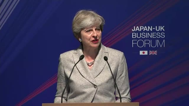 vídeos y material grabado en eventos de stock de business forum theresa may mp speech sot theresa may mp liam fox mp and shinzo abe sit / fox and japanese minister exchange memos / may and abe leave... - liam fox político