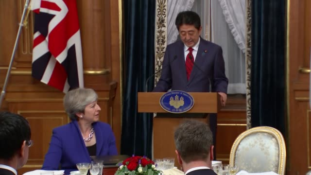 state banquet; shinzo abe and theresa may mp enter room to applause shinzo abe speech sot - state dinner stock videos & royalty-free footage