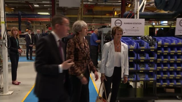 theresa may visit to alexander dennis bus factory / interview england surrey guildford alexander dennis plant int various of theresa may mp and anne... - plant part stock videos and b-roll footage