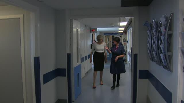 Theresa May visiting a hospital ward