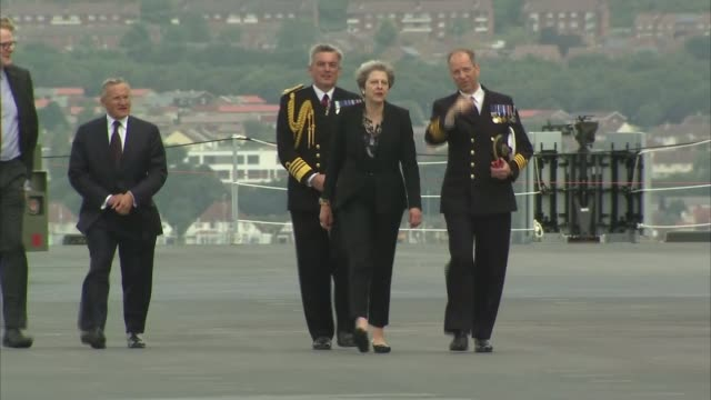 Theresa May visits HMS Queen Elizabeth at Portsmouth Naval Base Arrival ENGLAND Hampshire Portsmouth Portsmouth Naval Base HMS Queen Elizabeth EXT...