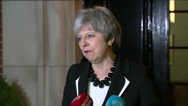theresa may visits northern ireland for powersharing talks northern ireland belfast stormont house theresa may mp speaking to press sot what i am... - standing stock videos & royalty-free footage