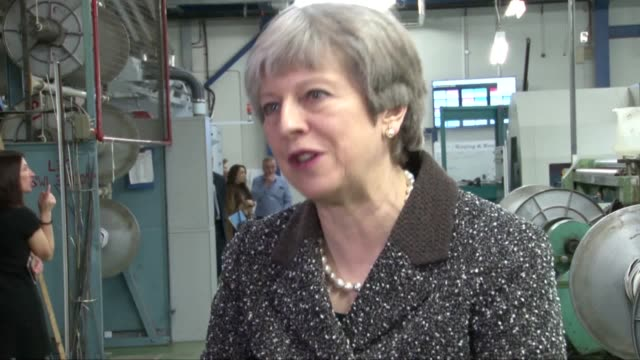 theresa may viss alex begg weavers in ayr to start a tour of the uk marking one year until brexit. the prime minister commented on her hopes for... - ayr stock videos & royalty-free footage