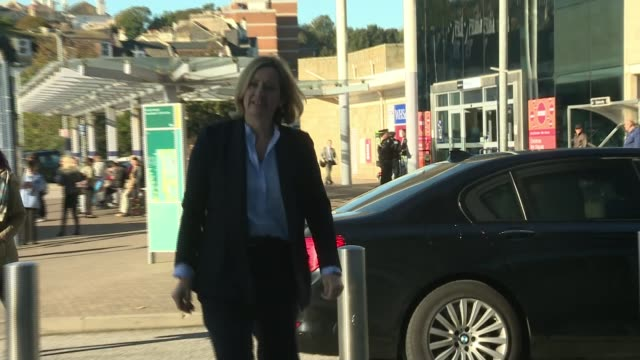 Theresa May vows to carry on amid rumours of leadership challenge Hastings EXT Amber Rudd MP from car and towrads building entrance unseen reporter...