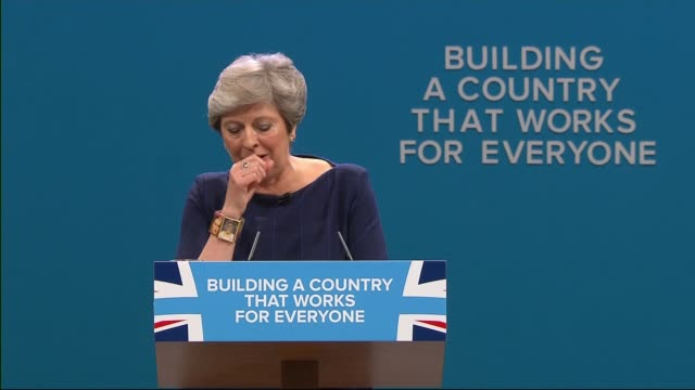 Theresa May vows to carry on amid rumours of leadership challenge 410207 / T04101706 Conservative Party Conference INT Various shots of Theresa May...