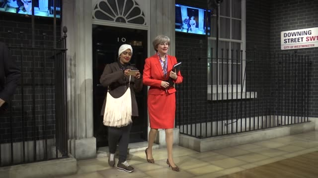 theresa may waxwork on display at madame tussaud's england london madame tussauds int theresa may mp waxwork / boris johnson mp waxwork / donald... - madame tussauds stock videos & royalty-free footage