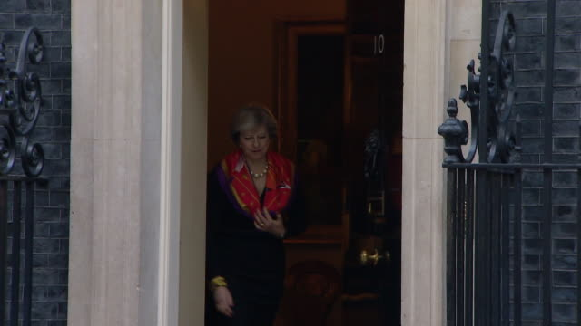 theresa may welcoming the polish prime minister beata szydlo to 10 downing street - 10 downing street stock videos and b-roll footage