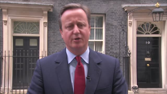 Theresa May wins Conservative Leadership contest David Cameron statement ENGLAND London Downing Street EXT **Audio quality as incoming** David...
