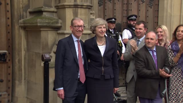 Theresa May wins Conservative Leadership contest Theresa May and Philip May photocall ENGLAND London EXT Theresa May MP and husband Philip May out of...