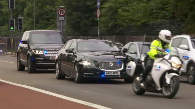 Theresa May's motorcade arriving at Sandhurst