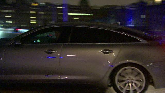 theresa may's motorcade leaving downing street at night - theresa may stock-videos und b-roll-filmmaterial