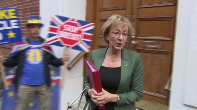 Theresa May's premiership on the brink as cabinet turn on her ENGLAND London EXT Andrea Leadsom MP leaving home past protester Steve Bray and...