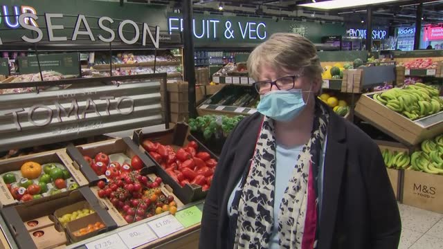 therese coffey visits marks and spencer supermarket; part 1 of 2 england: london: clapham: int therese coffey mp interview sot q: tell me why is it... - beautiful people stock videos & royalty-free footage