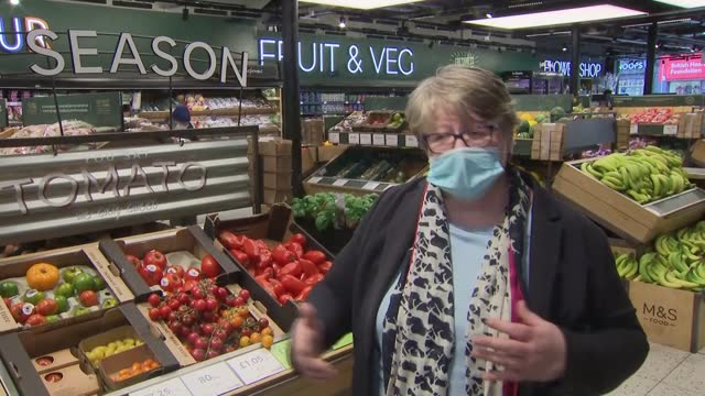 therese coffey visits marks and spencer supermarket; part 2 of 2 england: london: clapham: int therese coffey mp interview sot q: but it is quite... - scrutiny stock videos & royalty-free footage