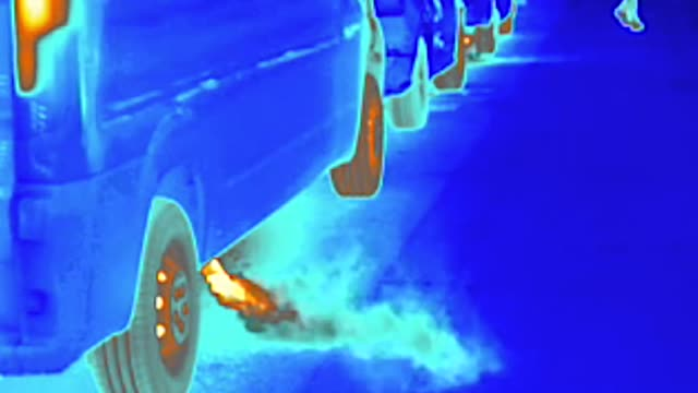 thermal heat image camera showing car exhaust fumes, air pollution and street scenes on regent street, london - scientific imaging technique stock videos & royalty-free footage