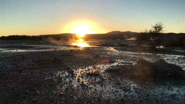 Thermal hot pools in Lake Rotorua in New Zealand at sunrise