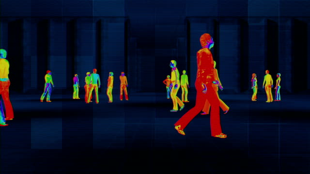 thermal imaging camera detecting elevated body temperature - warm clothing stock videos & royalty-free footage