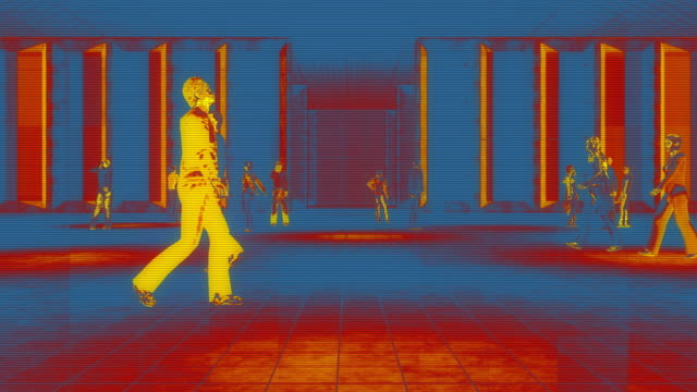 thermal imaging camera detecting elevated body temperature - thermal imaging stock videos & royalty-free footage