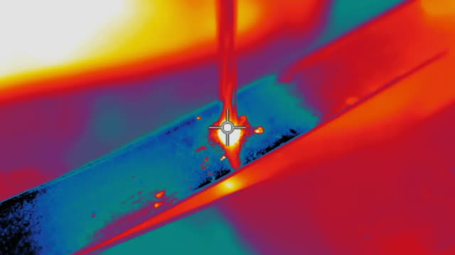 thermal imaging - drill making a hole in metal - metal industry stock videos & royalty-free footage