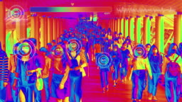Thermal imaging simulation scanning body heat with Graphical User Interface of crowds of Asian people wearing face protection in prevention for Coronavirus or Covid-19 while going to their workplace in Bangkok at morning rush hour