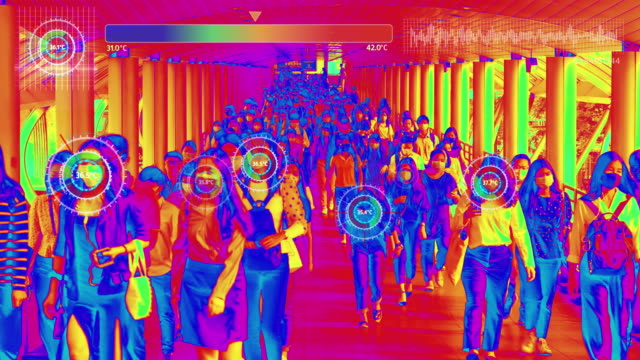 thermal imaging simulation scanning body heat with graphical user interface of crowds of asian people wearing face protection in prevention for coronavirus or covid-19 while going to their workplace in bangkok at morning rush hour - illness stock videos & royalty-free footage