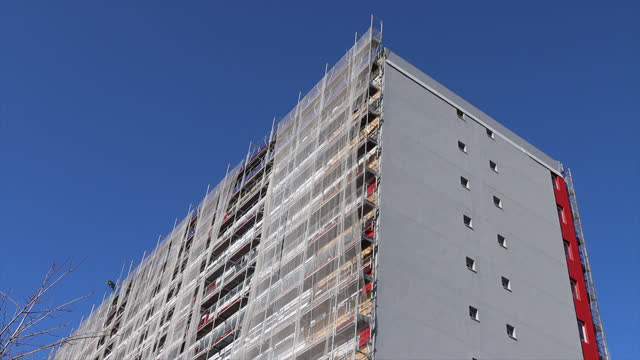 thermal insulation on building facade - insulator stock videos & royalty-free footage