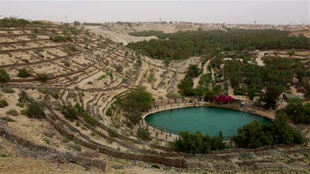 thermal pool the corbeille / basket in nafta , southern tunisia - thermal pool stock videos & royalty-free footage