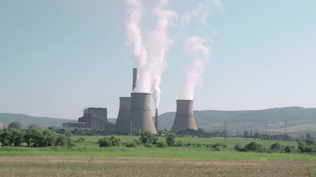 thermal power plant station. smoking industrial chimneys. nuclear power. - bulgaria stock videos & royalty-free footage