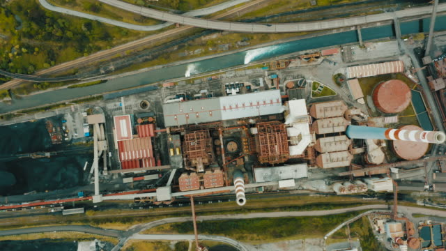 thermal power station, aerial shot. - generator stock videos & royalty-free footage