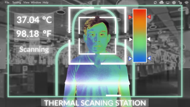 thermal scanning system using ai is verifying a temperature of asian man at shopping mall to prevention of novel coronavirus ncov ( covic-19) pandemic - instrument of measurement stock videos & royalty-free footage