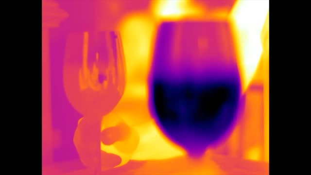 thermal video of a glass of chilled white wine (in the foreground) and a glass of room temperature red wine (in the background) being clinked together in a toast - 科学写真技術点の映像素材/bロール